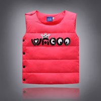 Wholesale Down Vest Cartoon Waistcoats - Children Waistcoat For 2015 Autumn And Winter New Korean Baby Child Costume Solid Color Cartoon Images Kids Down Vest Coat CD140 XQZ
