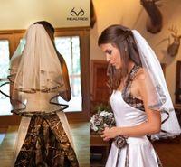 Wholesale Short Elegant Wedding Veils - Elegant Camo Short Bridal Veils Elbow Length Camo Ribbon Edge Wedding Veils Hair Pieces For Brides Custom Made