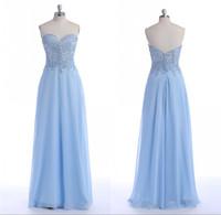 açık mavi elbise gerçek fotoğraf toptan satış-Uzun Şifon Abiye Açık Mavi Sevgiliye Boyun Çizgisi Boncuk Kat Uzunluk Bir Çizgi Ucuz Real Resimleri Fırfır Traje De Gala Sequins Abiye