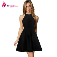 Wholesale Cute Dresses Nightclubs - Wholesale- Berydress New Arrival Womens Cute Wedding Cocktail Sexy Nightclub Halter Neck Blackless A-Line Black Dress Short 2017
