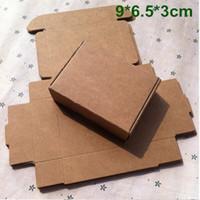fırın kraft kağıdı toptan satış-9 cm * 6.5 cm * 3 cm Takı için Kraft Kağıt Kutusu Hediye Kutusu Inci Şeker El Yapımı Sabun Pişirme Kutusu Ekmek Kek Kurabiye Çikolata Paketi Ambalaj Kutusu