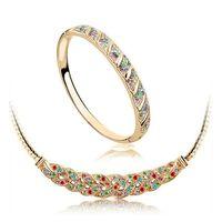 Wholesale Mixed Tibet Bracelets - Waltz Bracelet Necklace Set Full Rhinestone Alloy Jewelry Set 18K Austrian Crystal Jewelry For Women Best Gift 1018