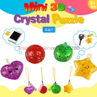 Wholesale Soccer Puzzles - Wholesale-Mini-dimensional jigsaw puzzle toy 3D Crystal Apple mobile phone chain love soccer stars
