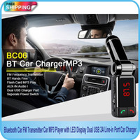 Wholesale Display Port Lead - Free Shipping!!Bluetooth Car FM Transmitter Car MP3 Player with LED Display Dual USB 2A Line-in Port Car Charger BC06