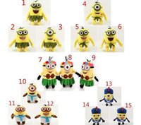 Wholesale Despicable Minion Stuart - Minions Plush Toys 20CM Despicable me Kevin Bob Stuart Stuffed Dolls Hawaii Hula Skirt Style Toys Kid Birthday Gift free shipping