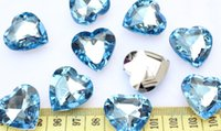 Wholesale set of big D Faceted Acrylic Heart Bling Rhinestones Gems Cabochons baby blue mm