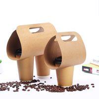 Wholesale Milk Tea Supplies - Disposable Kraft Paper Cup Base Handle Holder Eco Friendly Coffee Milk Tea Cup Tray Takeaway Drink Packaging 50pcs lot SK802