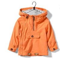 мужские куртки оранжевые оптовых-Верхняя одежда детской куртки для мальчиков весна осень кардиган молния hoody оранжевый с капюшоном куртки пальто 2016 новый