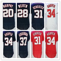 Wholesale Baseball Jerseys Washington - 2017 New Flexbase Washington Baseball 20 Daniel Murphy 34 Bryce Harper 28 Werth 31 Scherzer 37 Strasburg Jerseys Shirts Blue Red White