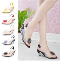 Wholesale Flower Wedges Sandals - New Fashion Women'S crystal Sandals  Slippers transparent Color Patchwork Flowers Square High Heel Sandals & Pumps wedding shoes OL shoes