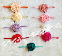 Wholesale Elastic Hair Band Shine - 30pcs Baby Girl Floral Ornaments Chiffon Rose Flower Headbands Shining Headwear Kids' Accessories Elastic slender rubber band PJ5262
