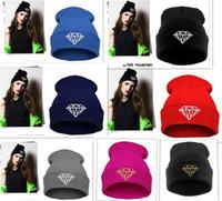 homens melhor preço venda por atacado-Venda quente melhor preço 12 cores diamante Skullies quente Gorros homens mulheres Caps chapéus inverno Cap Hat Beanie lã de malha chapéu quente D347