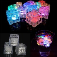 Wholesale ice block lights - 50pc ice block submersible Led lights Festival colorful LED ice cube lamp led Party Ice Cube night Light candy colour Wedding Christmas Deco