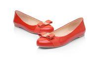 ingrosso scarpe di grandi dimensioni per le signore-Scarpe da donna di grandi dimensioni di marca scarpe di balletto in vera pelle donna bow tie designer di scarpe da donna Zapatos Mujer Sapato Feminino