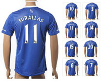 Customized 15-16 New Thai Qualité 11 Mirallas Maillots de Foot, Cheap Wholesale personnalisés haut de Football Tops Chemises, 10 Lukaku Fashion Wear Football