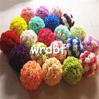 Wholesale color kissing balls - Silk Rose Flower Balls 15cm Diameter Kissing Balls 24 Color Designs for Wedding Party Shops Artificial Decorative Flowers