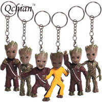 Wholesale bobble man - Guardians Of The Galaxy Keychain Popular Funko Pop Keychain Pvc Dancing Groot Finger Potted Bobble Head Tree Man Juguetes Toy Keychain
