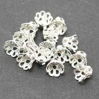 Wholesale Metal Beads Caps - 2000pcs -Filigree Metal Flower Bead Cap 4x5mm Plated Gold&Rhodium&Antique Brozen U-Pick Color Spacer Beads DIY Jewelry Findings DH-FDA003