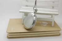 Wholesale Gothic Pocket Watch - (1006) 30pcs lot Big size double shine Silver Lady Necklace Engravable Quartz Pocket Watch Necklace Victorian gothic Watch