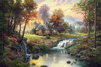 pinturas de montaña al por mayor-Lámina al óleo sobre lienzo Retreat de montaña sin marco. NO.132