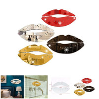 Wholesale lips rooms for sale - Creative D Kiss Lips Wall Sticker DIY Acrylic Mirror Surface Sticker for Home Bathroom Decals