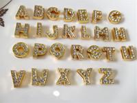 Wholesale Diy Gold Slide Charms Letter - 52PCS Lot Hot 10MM Full Rhinestones Gold Slide Letters A-Z Alphabet DIY Slide Charms Fit 10MM Wristbands Bracelets Belts Collars SL04