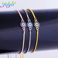Wholesale Greek Eye Bracelets - Wholesale- Ali Moda Dropshipping Micro Pave Gold Silver Colorful Zircon Evil EYE Greek Round Charms With Adjustable Box Chains Bracelets