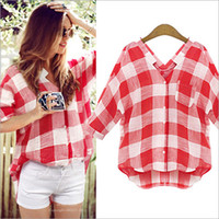 Wholesale Plaid Blouse Batwing - S-XL Fashion 2015 Plaid Women Shirts Blouse Casual Plus Size Loose Girls Summer Shirt Blusas Femininas Vintage Summer Tops