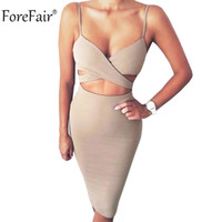 Wholesale- ForeFair Summer Sleeveless Cross V-neck Sexy Party Dresses Women Plus Размер Черный Красный Хаки 95% Хлопок Midi Sling Bodycon Dress