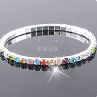 Wholesale Wholesale Tennis Bracelets Free Shipping - Row Shinning Crystal Rhinestone Elastic Wrap Bracelet Bangle Women Wedding Bridal Jewelry Hand Chain free shipping B400