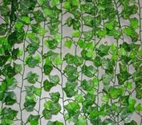 hoja de hiedra artificial al por mayor-2.4 metros de hiedra artificial hoja guirnalda plantas vid falso follaje flores decoración para el hogar