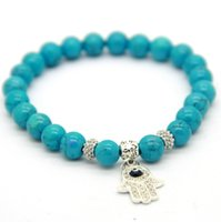 Wholesale Turquoise Stone Hand Chain - New Arrival Fashion 8mm Turquoise Stone Beads Silver Crystal Fatima hand Hamsa Charm Bracelet Ethic Jewelry