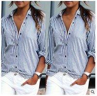 Wholesale Ol Blouse Plus Size - Blusas Femininas 2017 Spring Women Blouses Fashion Long Sleeve Lapel Striped Shirt Loose Casual OL Work Tops Plus Size XS-5XL
