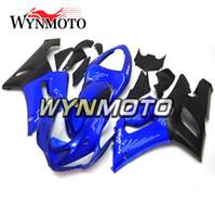 ingrosso zx6r plastica blu-Cornici Nuove carene per Kawasaki ZX-6R 636 2005-2006 05 06 Iniezione Plastica ABS Coperture carena Moto ZX6R Gloss Blue Sportbike Scafo nero
