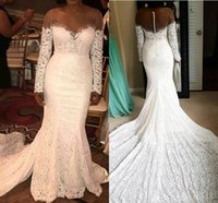 Gorgeous Plus Size Lace Wedding Dresses 2018 Sheer Neck Manga comprida Beads Back With Button Chapel Train Lace Boho Bridal Gowns Customized