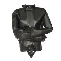 Wholesale Cosplay Faux Leather - Wholesale-Womens Black Straight Jacket Faux Leather Strict Bondage Kinky Fancy Sexy Dress Cosplay Bondage Gear