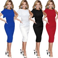 Wholesale Hot Work Dress - Hot Selling Women Celebrity Elegant Ruched Wear to Work Party Prom Plus Size Bodycon Dress OXLOX061 S~5XL