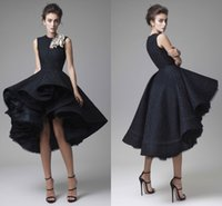 Wholesale Navy Blue Pleated Skirt - 2017 Gorgeous Krikor Jabotian Evening Dresses Jewel Lace Tea Length Plus Size Black Ball Gown Prom Dresses High Low Skirt Party Gowns