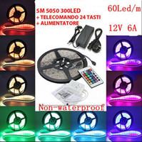 ingrosso controller magico rf-5m RGB 5050 SMD 12V luce flessibile 60 led / m 5050 Nastro striscia impermeabile non impermeabile con telecomando IR 24Key + Trasformatore 6A, dandys