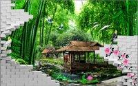 ingrosso 3d murale di bambù-carta da parati foto carta da parati Moda 3D foresta di bambù sfondi nome 3d