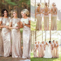 Wholesale cheap plus size yellow wedding dresses for sale - 2016 Cheap Gold Sequins Sparkly Bridesmaid Dresses Plus Size Backless Long Wedding Party Guest Gowns Short Sleeves Custom Made
