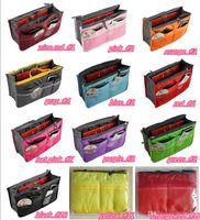 Wholesale Insert Handbag Organiser Purse - 2016 Portable Double Zipper Bag Insert liner purse Organiser Handbag Women Travel Purse Pouch Bag in Bag Organizer Cosmetics Storage Y193