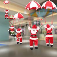 fallschirmspringende weihnachtsdekoration großhandel-2018 Weihnachtsschmuck Fallschirm Weihnachtsmann Schneemann Tropfen Ornament 4 Arten Weihnachtsbaum Anhänger Supplies Hochzeit Weihnachtsgeschenke
