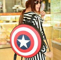 Wholesale Avengers Backpack Kids - Avengers Captain America Backpack Shoulder Bag Cosplay Costume Accessory Props Kids Girl students backpack circle school bag DHL Free