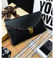 Wholesale Envelope Purse Chain Hands - Fashion Womens PU leather Envelope Scalloped Edge Clutch Purses Lady Handbag Tote Shoulder Hand Bag DHL Free 100pcs