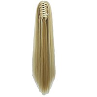 Wholesale hair synthetic pony online - Long Straight Clip In Hair Extensions Piece Blonde Gray Little Pony Tail Synthetic Hair Claw Ponytails