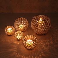 candelabros de candelabros de cristal al por mayor-Candelabros de luz de té de cristal para la boda Centro de mesa Comedor Navidad decorativa para el hogar Vela Linterna Plata Oro