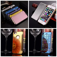 Wholesale Gold Plated Wallet - Deluxe Mirror Bling Chromed Metallic Hard PC +Leather Wallet Case For Iphone 6 6S 4.7 Plus 5 5S SE Clear Rose Gold Plating Luxury Flip Pouch