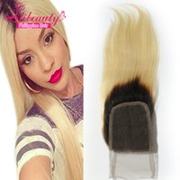"Wholesale Philippine Hair - Dark Roots 1b613 Honey Blonde Hair Straight Top Closures 4""x 4"" Lace Closure Ombre Blonde Philippine Straight Remy Hair Human Hair"