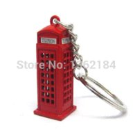 HK post 12 pz / lotto Fashion London style Red Telephone Booth Portachiavi regalo souvenir britannico KeyChain keyRing Spedizione gratuita